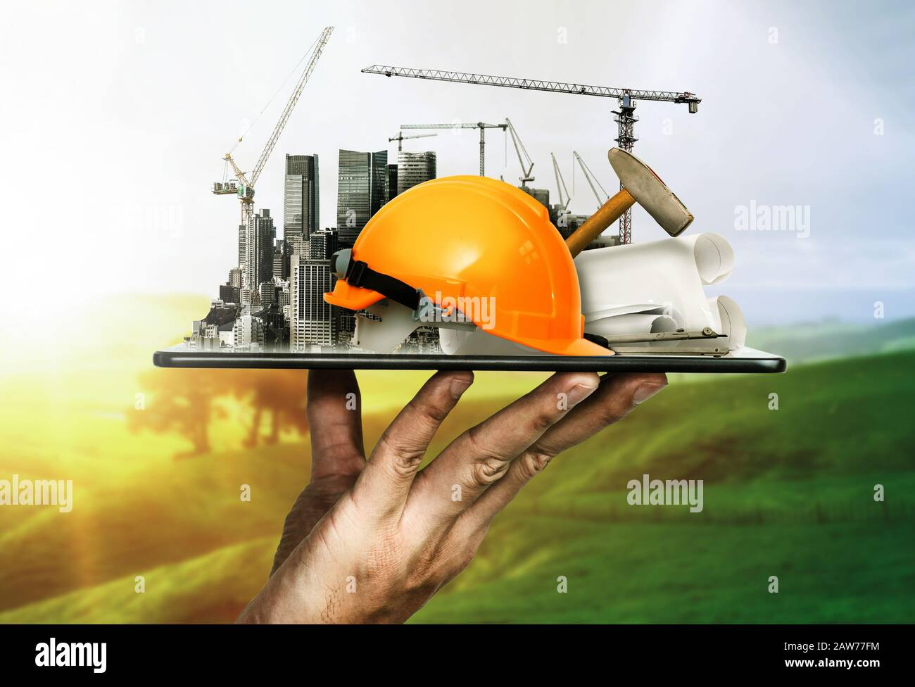 Innovative Architecture And Civil Engineering Building Construction Project Creative Graphic Design Showing Concept Of Infrastructure City Building B Stock Photo Alamy
