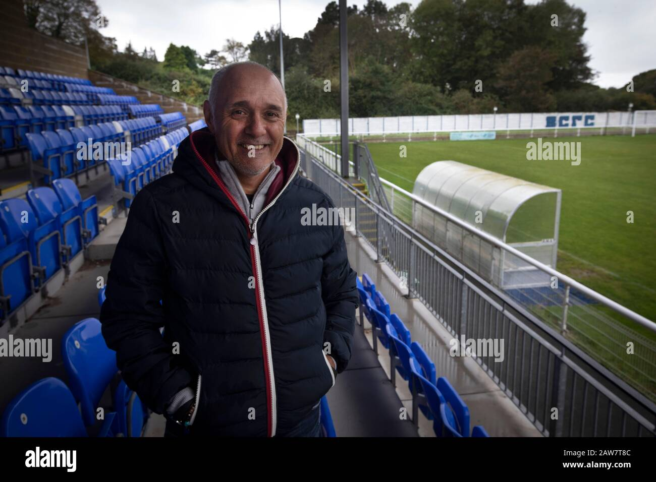 Former Argentina international footballer Pedro Pasculli, pictured at Nantporth Stadium, home of  Bangor City, where he was appointed  manager in October, 2019. This was the 1986 World Cup winner's 13th management position, having previously been in charge of the Albania and Uganda national teams as well as a host of clubs worldwide. Bangor City competed in the Cymru Alliance, the second tier of Welsh football having been demoted due to financial irregularities at the end of the 2017-18 season. The club was owned by Italian Domenico Serafino. Stock Photo