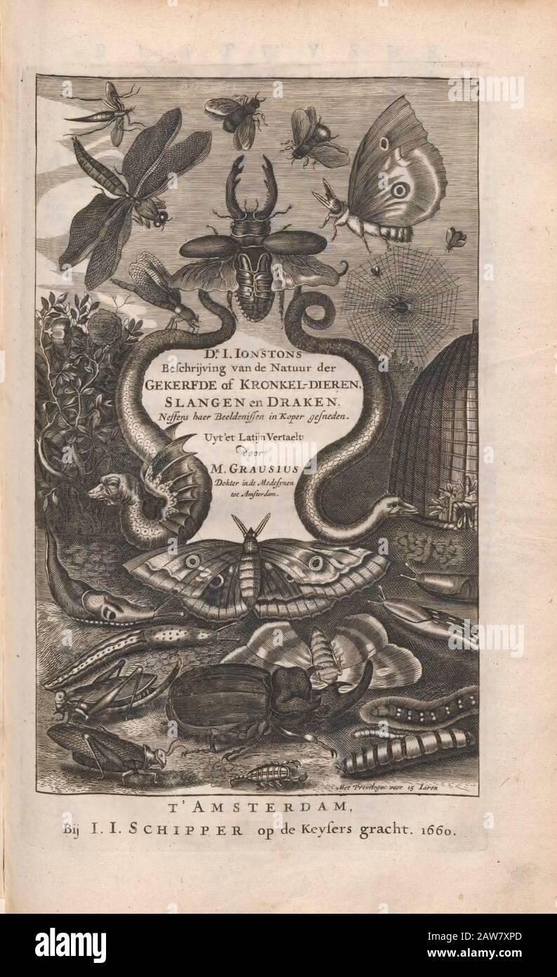 title page Copperplate print from Johannes Jonston book of nature 'Dr. I. Ionstons Beschrijving vande natuur der vogelen neffens haer beeldenissen in koper gesneden' Published in Amsterdam in 1660 Stock Photo