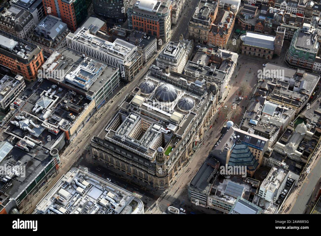 aerial view of St Anns Square and Royal Exchange Theatre & Royal Exchange Arcade in Manchester city centre Stock Photo