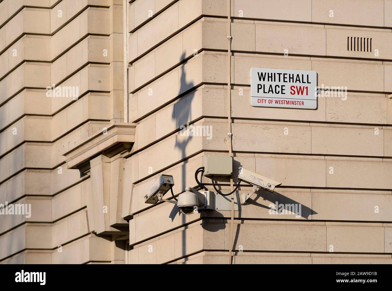 London, England, UK. Security cameras in Whitehall Stock Photo