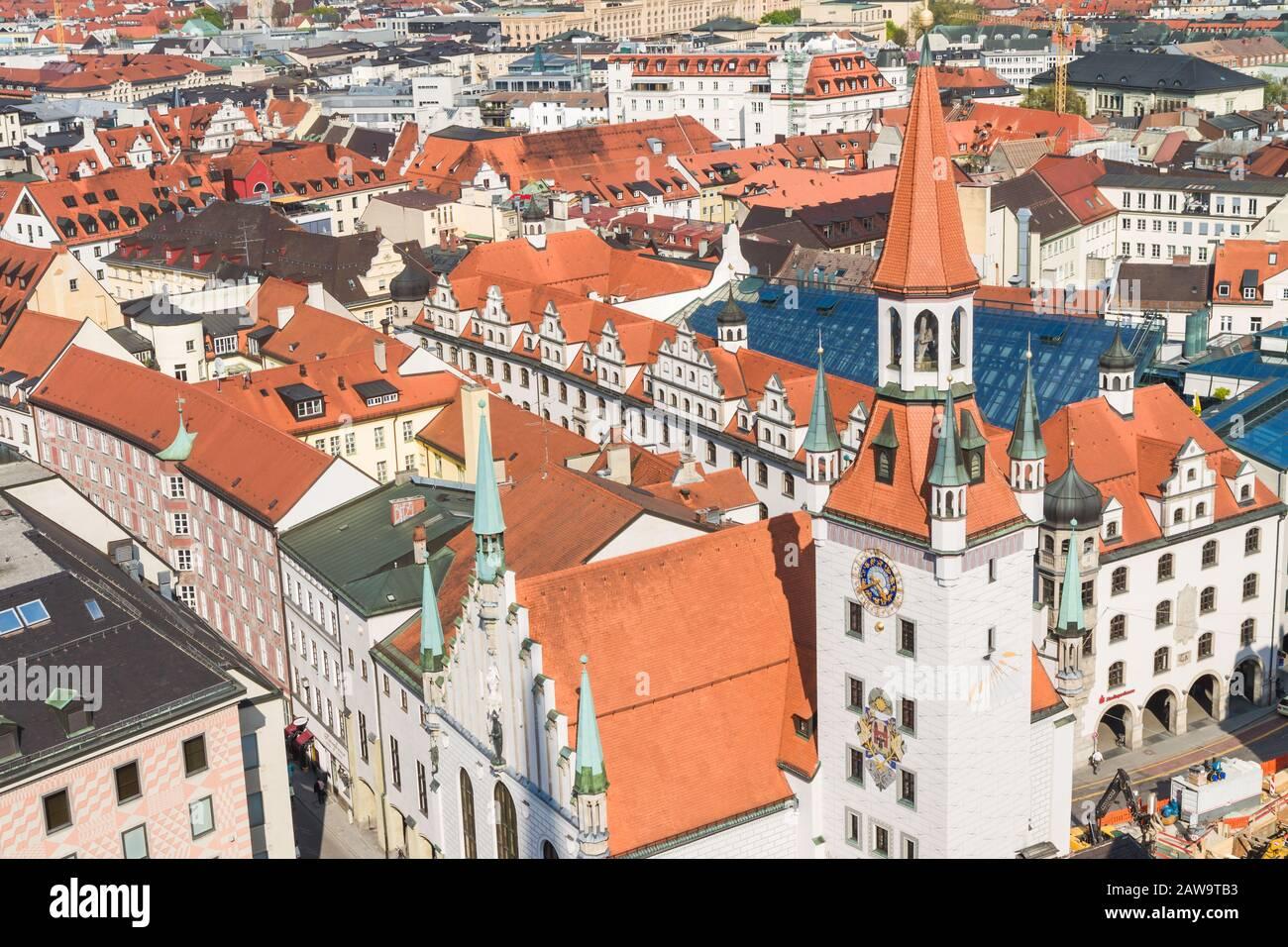 Beautiful super wide-angle sunny aerial view of Munich, Bayern, Bavaria, German Stock Photo