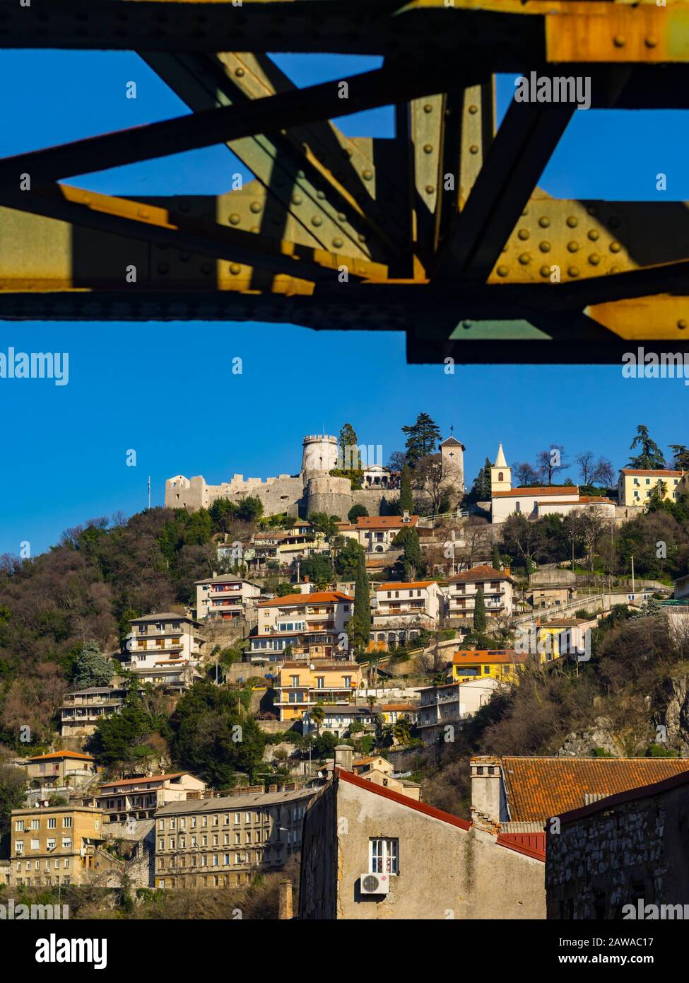 Trsat under metal railway bridge Rijeka Croatia Europe Stock Photo