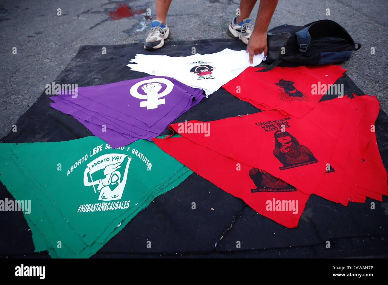 A Street Stall Selling Vindictive Scarves Is Seen During A New Day Of Protests In Plaza