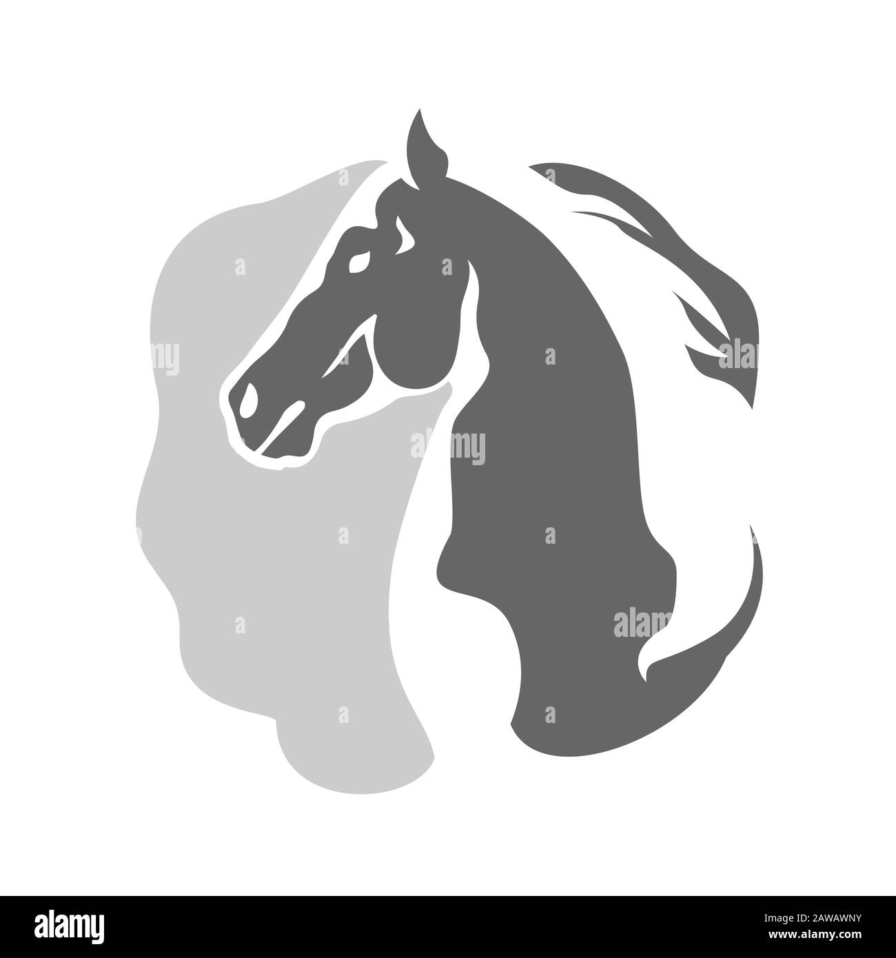 Abstract Horse Head Logo Vector On Negative Space Style Logotype Stock Vector Image Art Alamy
