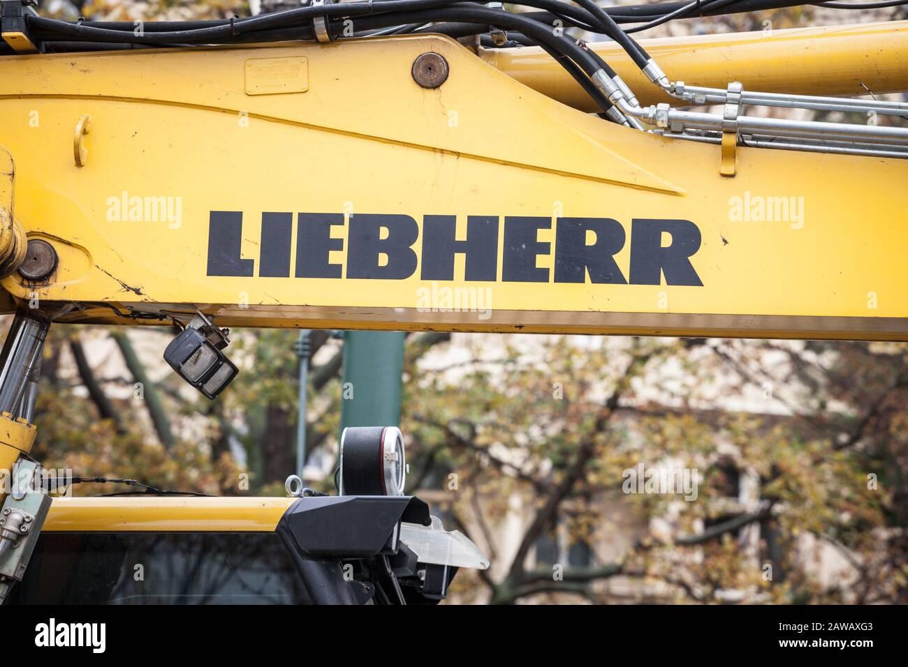 PRAGUE, CZECHIA - NOVEMBER 3, 2019: Liebherr logo on some equipment machinery on a construction site in Prague. Liebherr is a German Swiss manufacture Stock Photo