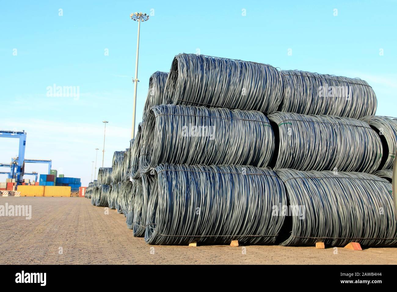 Steel wire rod Stock Photo