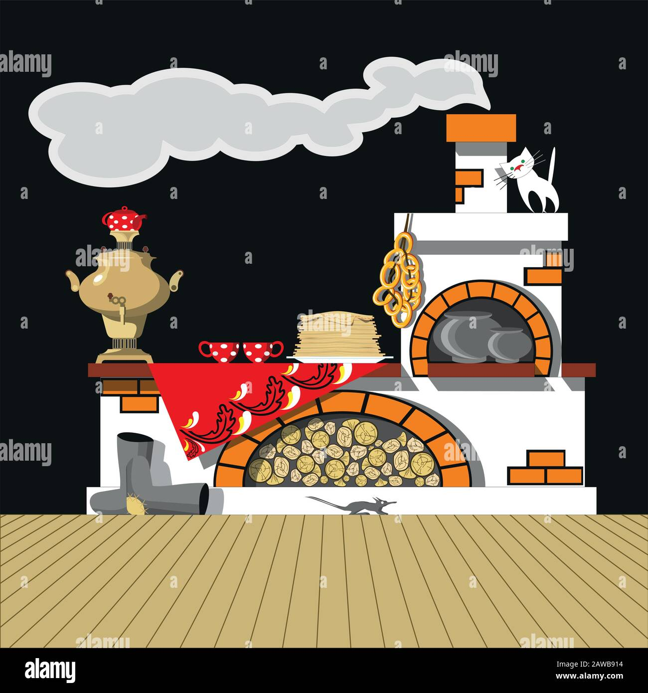 Russian oven, samovar, pancakes, bagels, felt boots. Vector set for decoration of the Russian holiday Maslenitsa. Shrovetide Stock Vector