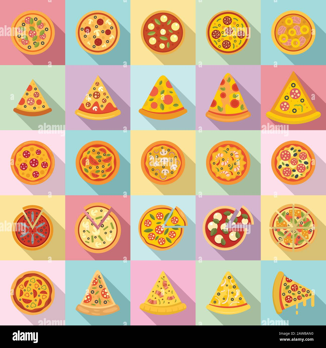 Pizza icons set. Flat set of pizza vector icons for web design Stock Vector
