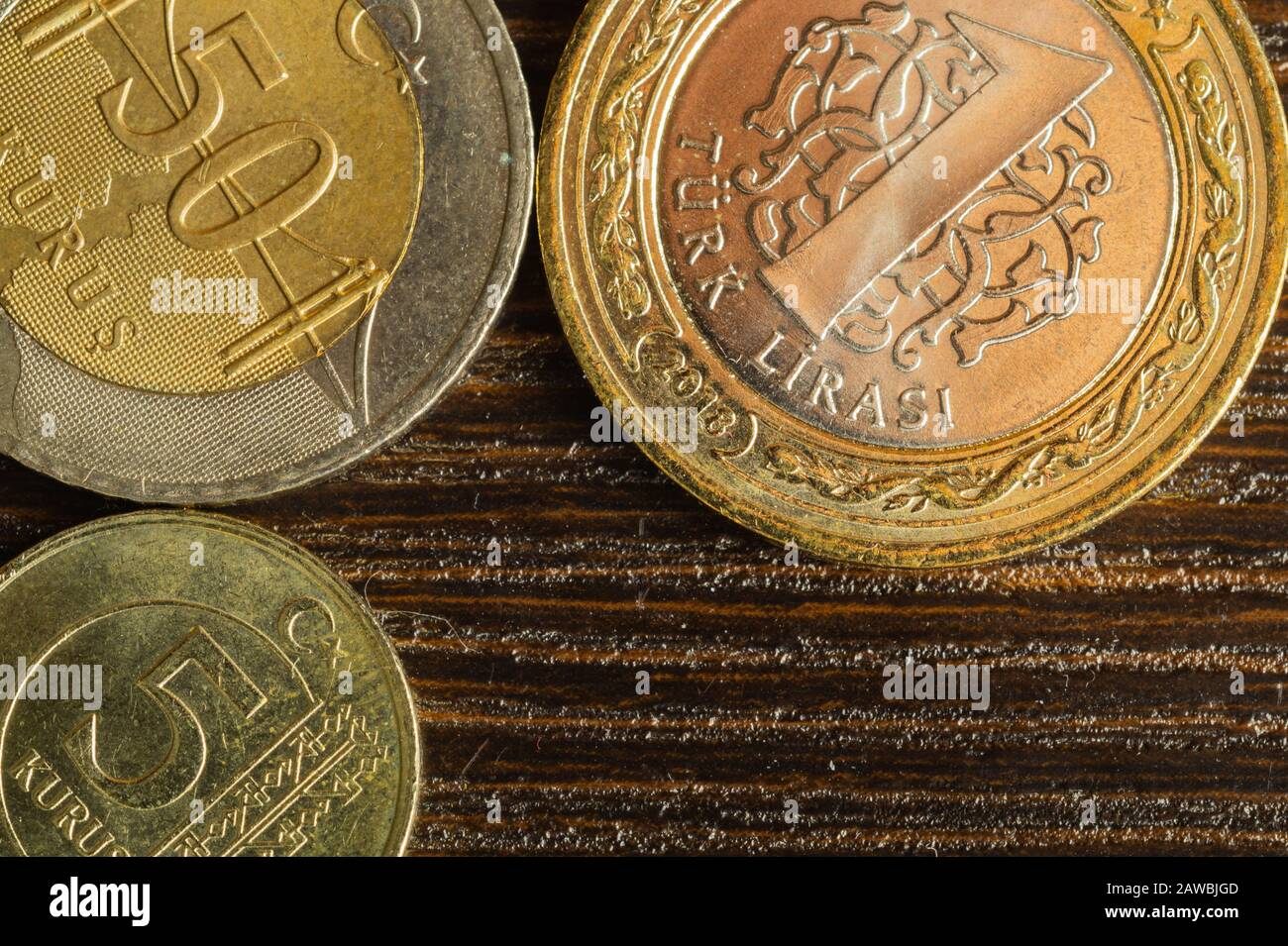 Turkish coins on a dark wooden background. lira from Turkey close up Stock Photo