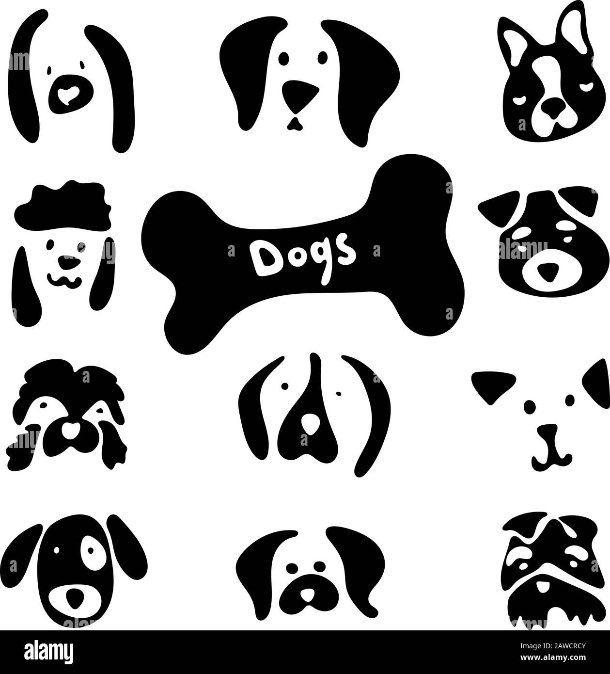 Dog Breed Stock Set With Cartoon Emotions And Lovely Faces Vector Images Of Dogs Head On White Background For Your Design Clipart Stock Black And Stock Vector Image Art Alamy