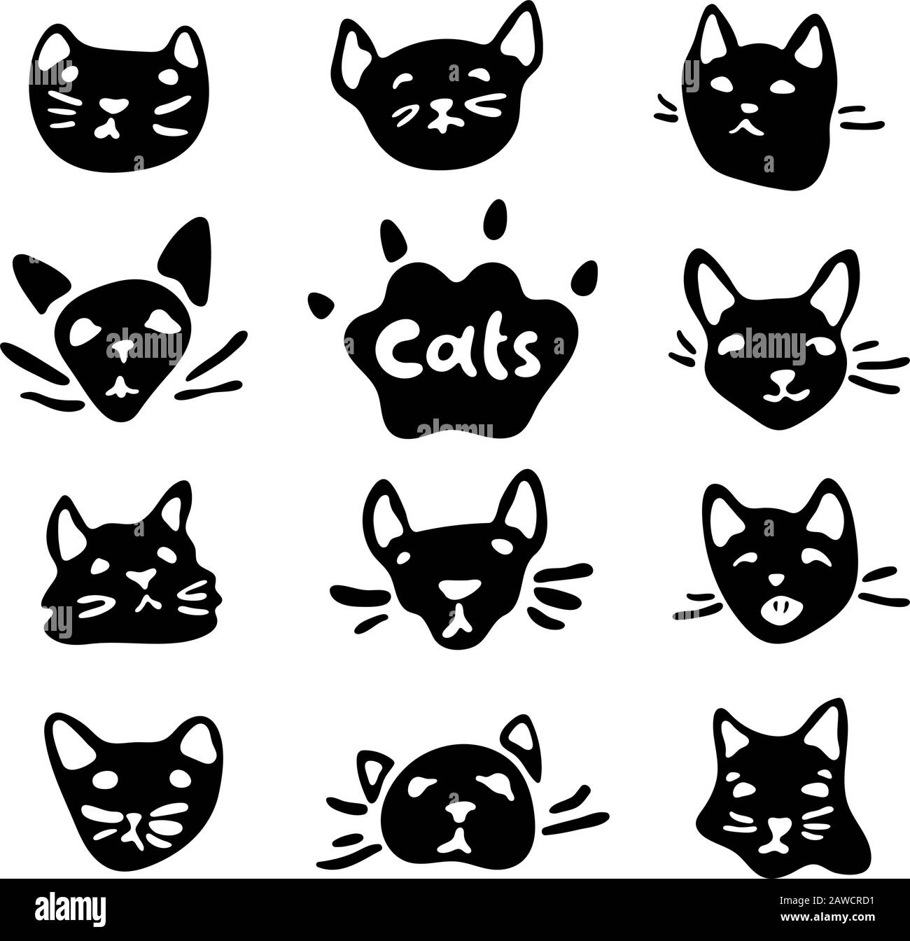 black and white cat characters cute black and white cats head set with cartoon emotions and