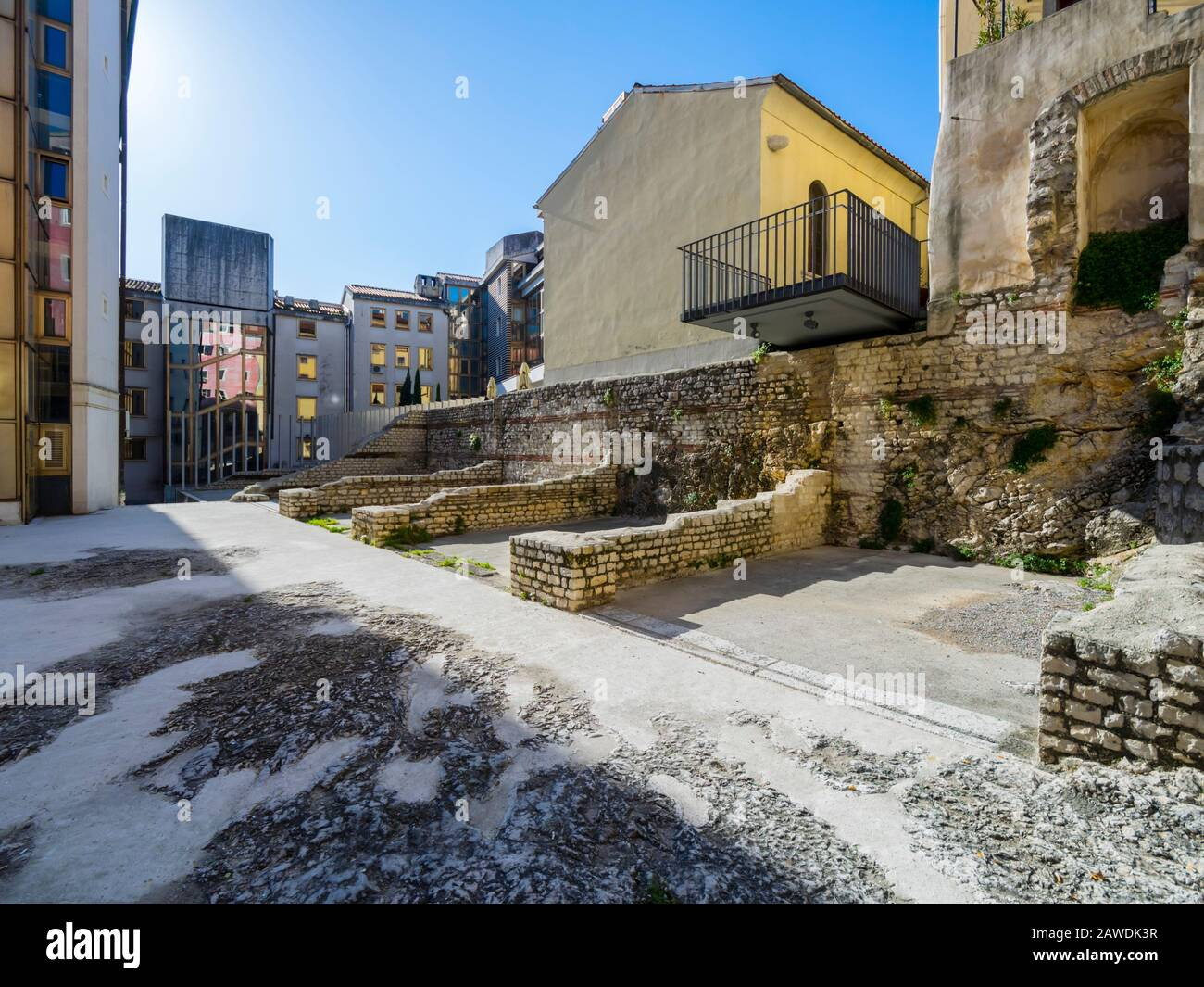 Architectural remains of medieval houses in center of Rijeka Croatia Europe Stock Photo