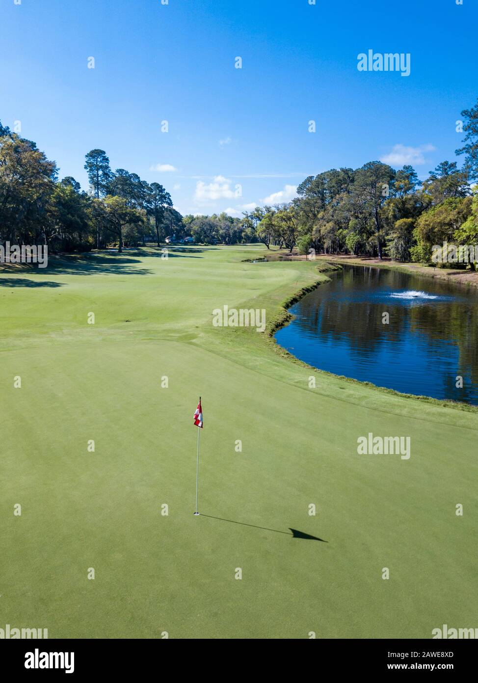 High Angle Shot Of Pin And Hole On Golf Course With Fairway In Background Stock Photo 342677733 Alamy