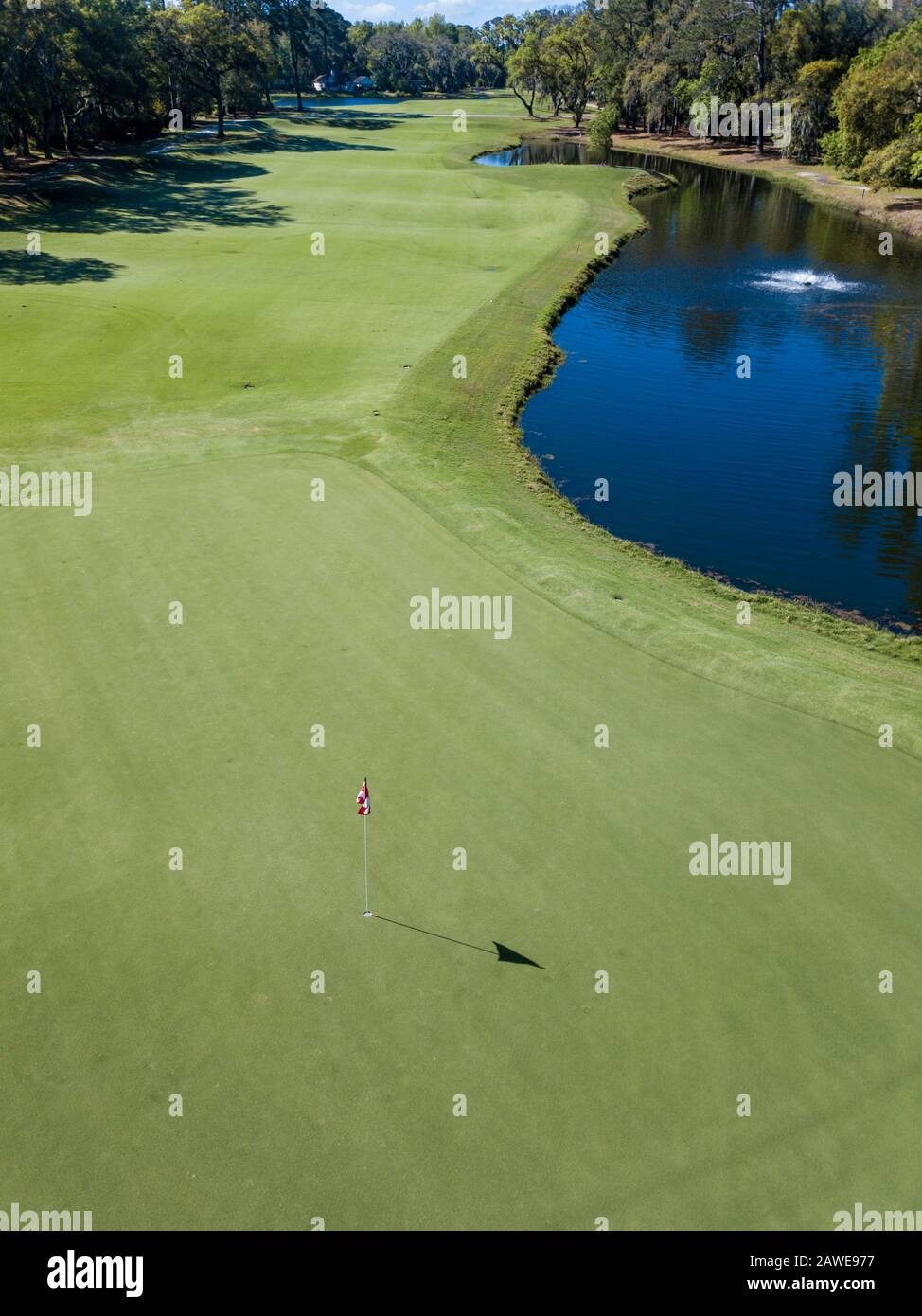 Low Aerial Shot Of Pin On A Golf Course With Fairway In The Background Stock Photo Alamy