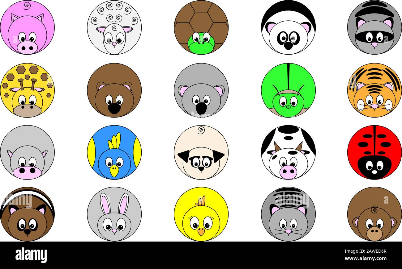 collection of twenty cute funny round vector illustrated animal sticker icon buttons in bright colors Stock Vector