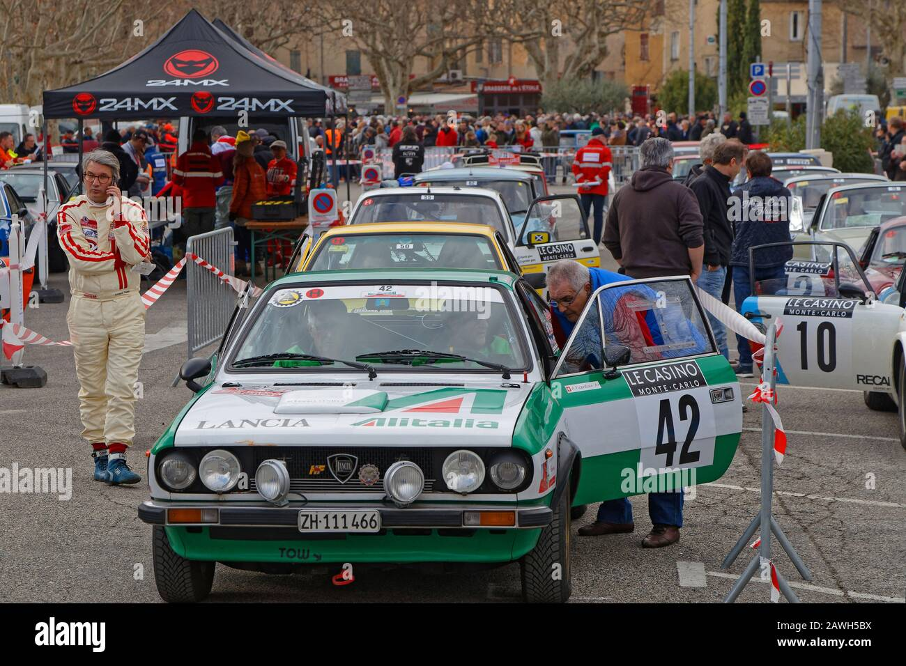 BUIS-LES-BARONNIES, FRANCE, February 1, 2020 : Starting park of Historic Monte-Carlo Rally. This 23rd edition hosts 310 teams from 28 countries with 4 Stock Photo