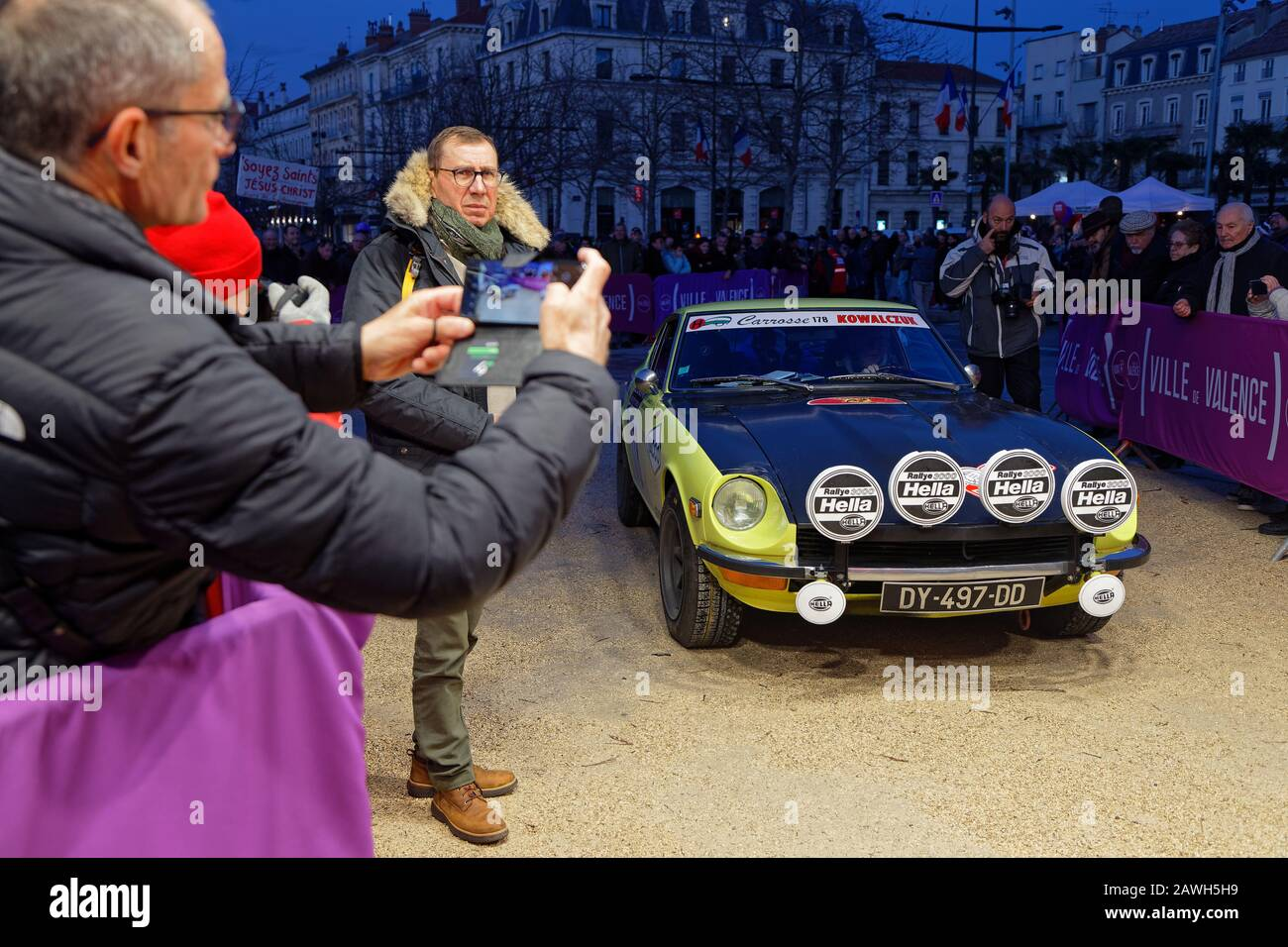VALENCE, FRANCE, February 1, 2020 : Arrival of Historic Monte-Carlo Rally stage. This 23rd edition hosts 310 teams from 28 countries with 40 brands Stock Photo