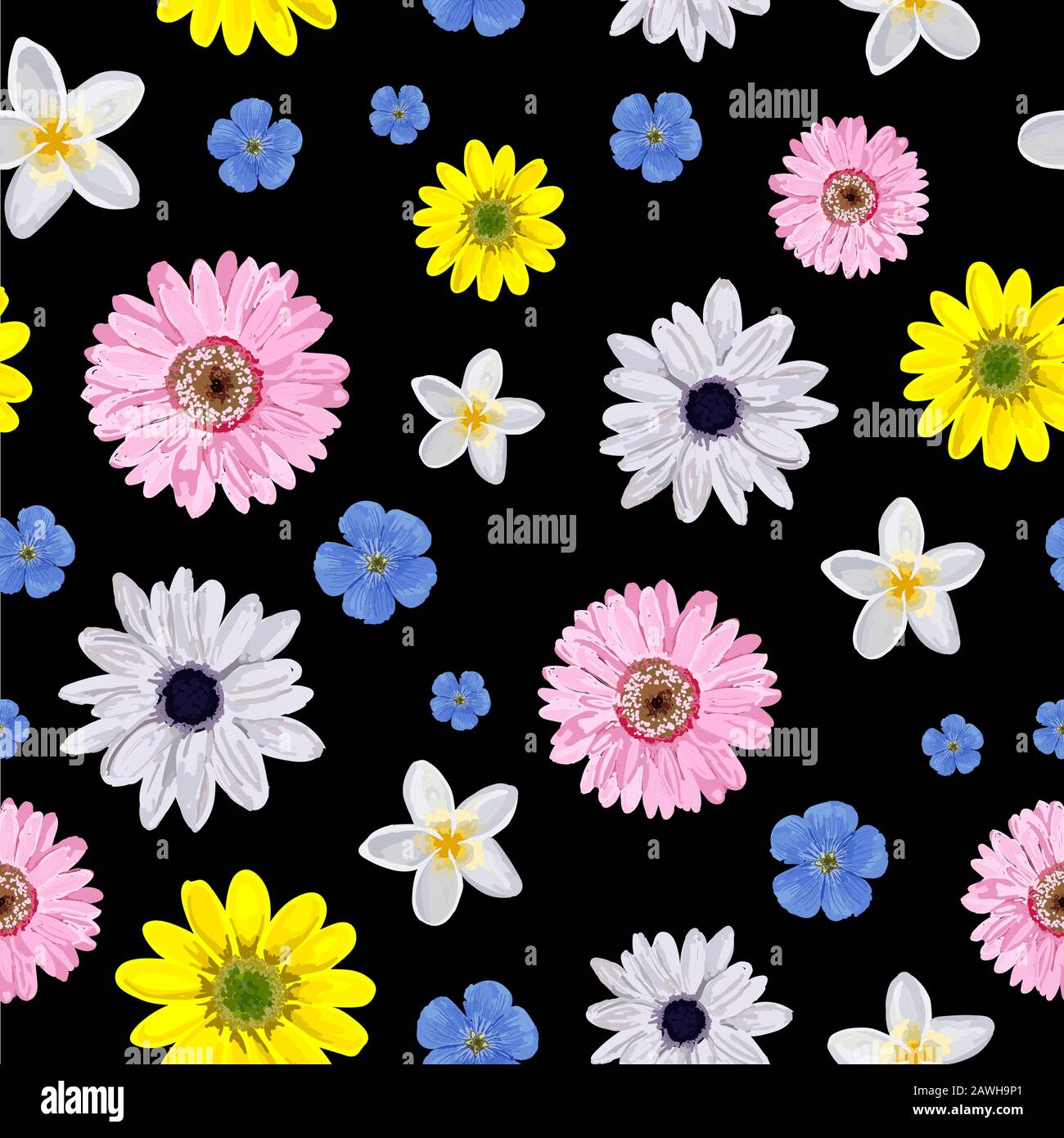 Vector Background Pink With Flower Seamless Simple Floral Pattern