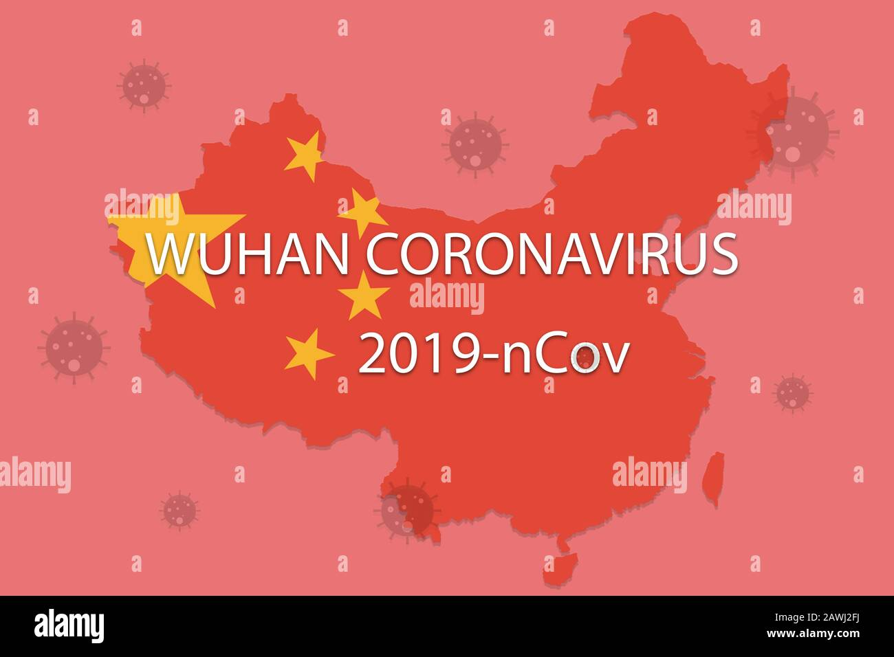 Chinese Novel coronavirus - 2019-nCoV or WUHAN virus concept with CORONAVIRUS text on Chinese map with red background. Stock Photo