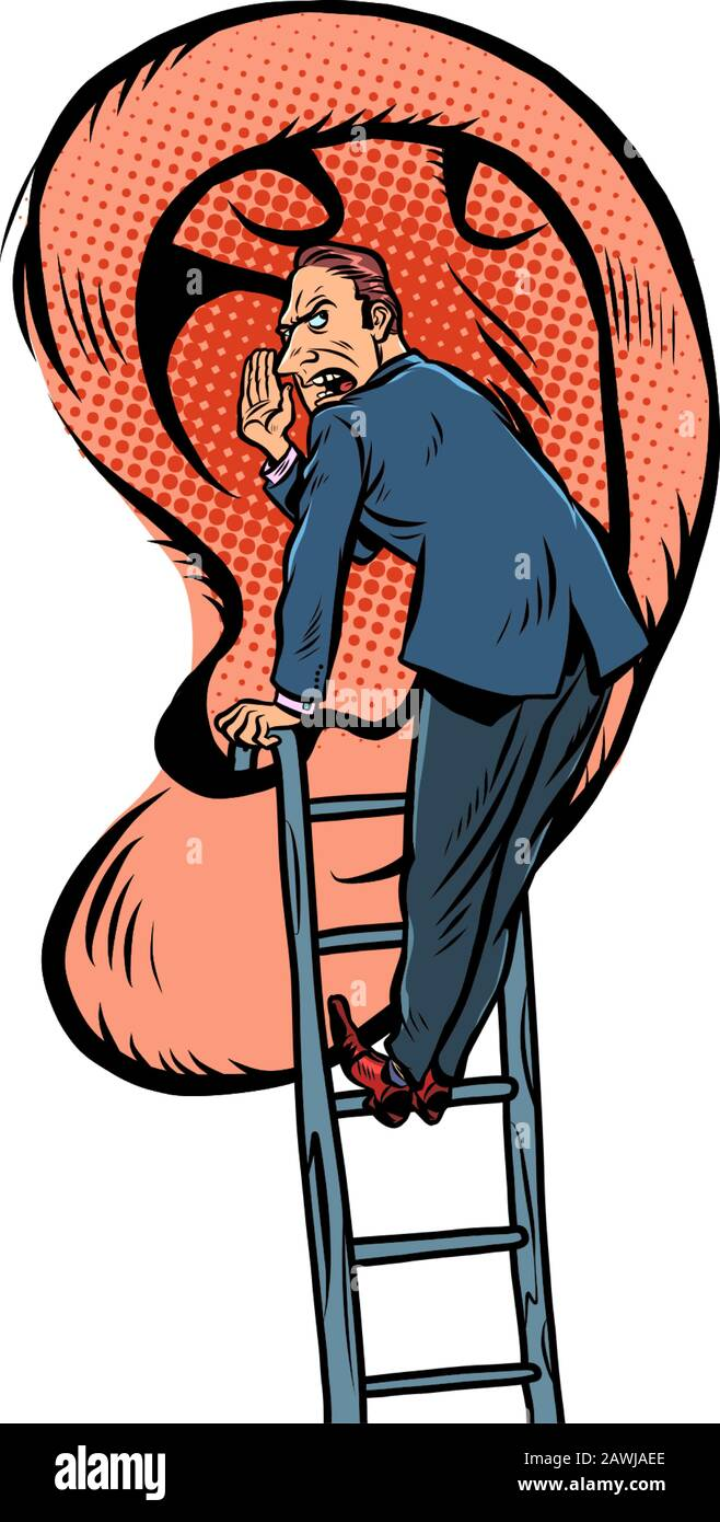 A man tells a secret. Stands on the stairs near the big ear. Comic caricature por art retro vector illustration Stock Vector