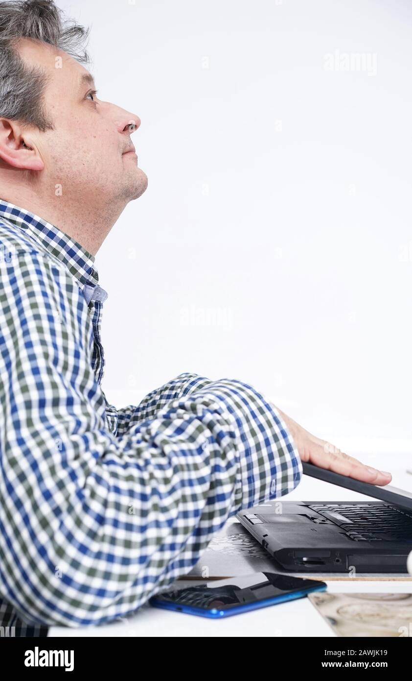 IT support from home - the end of work Stock Photo