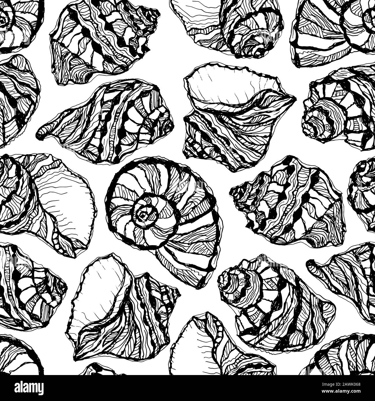 Vector Illustration Of Marine Seamless Pattern Hand Drawn Sea Shells Coloring Page Book Sketch Clams Stock Vector Image Art Alamy