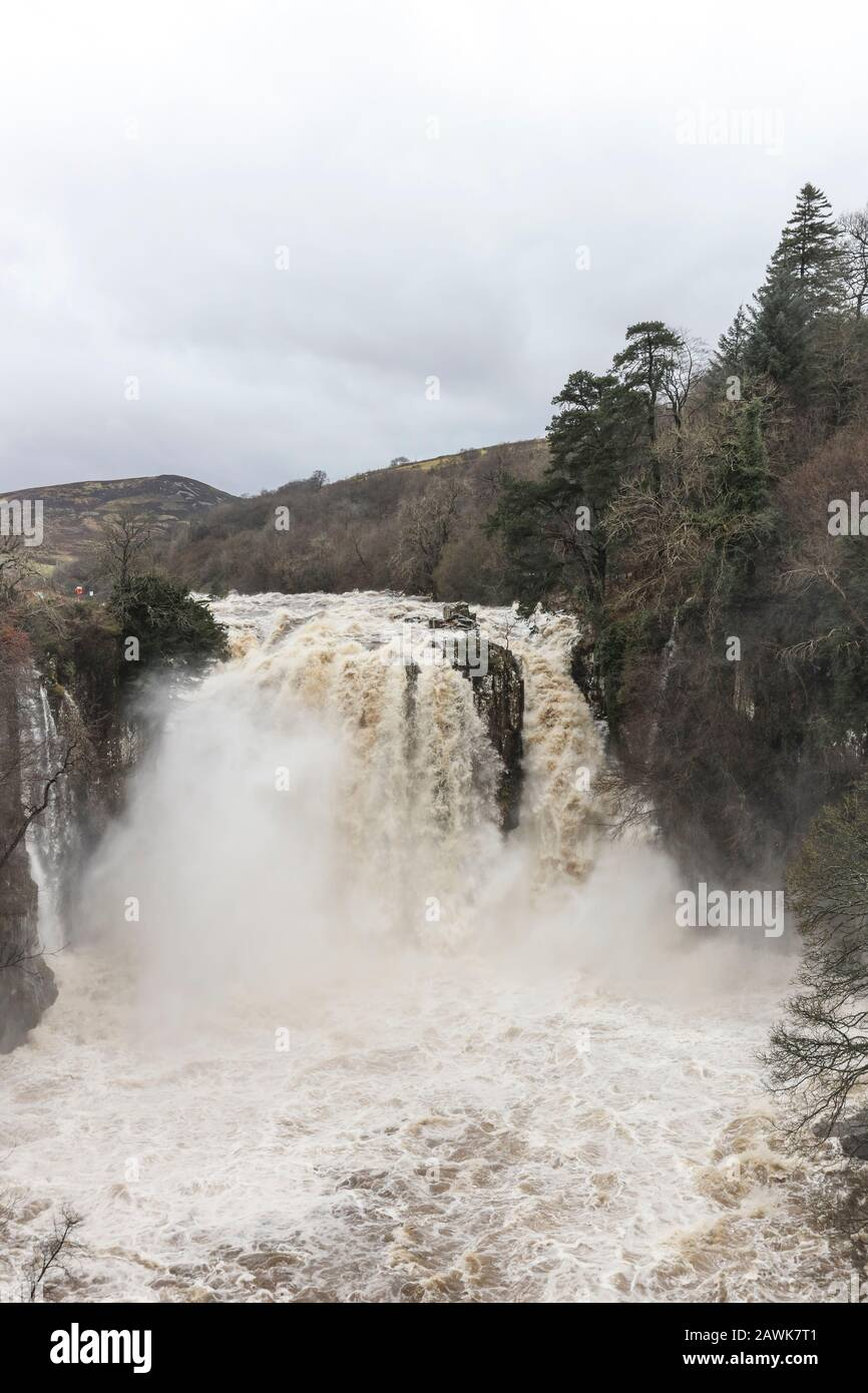 High Force, Teesdale, County Durham, UK.  9th February 2020. UK Weather.  As storm Ciara swept across Northern England High Force looked spectacular as the River Tees thundered over it. Credit: David Forster/Alamy Live News Stock Photo