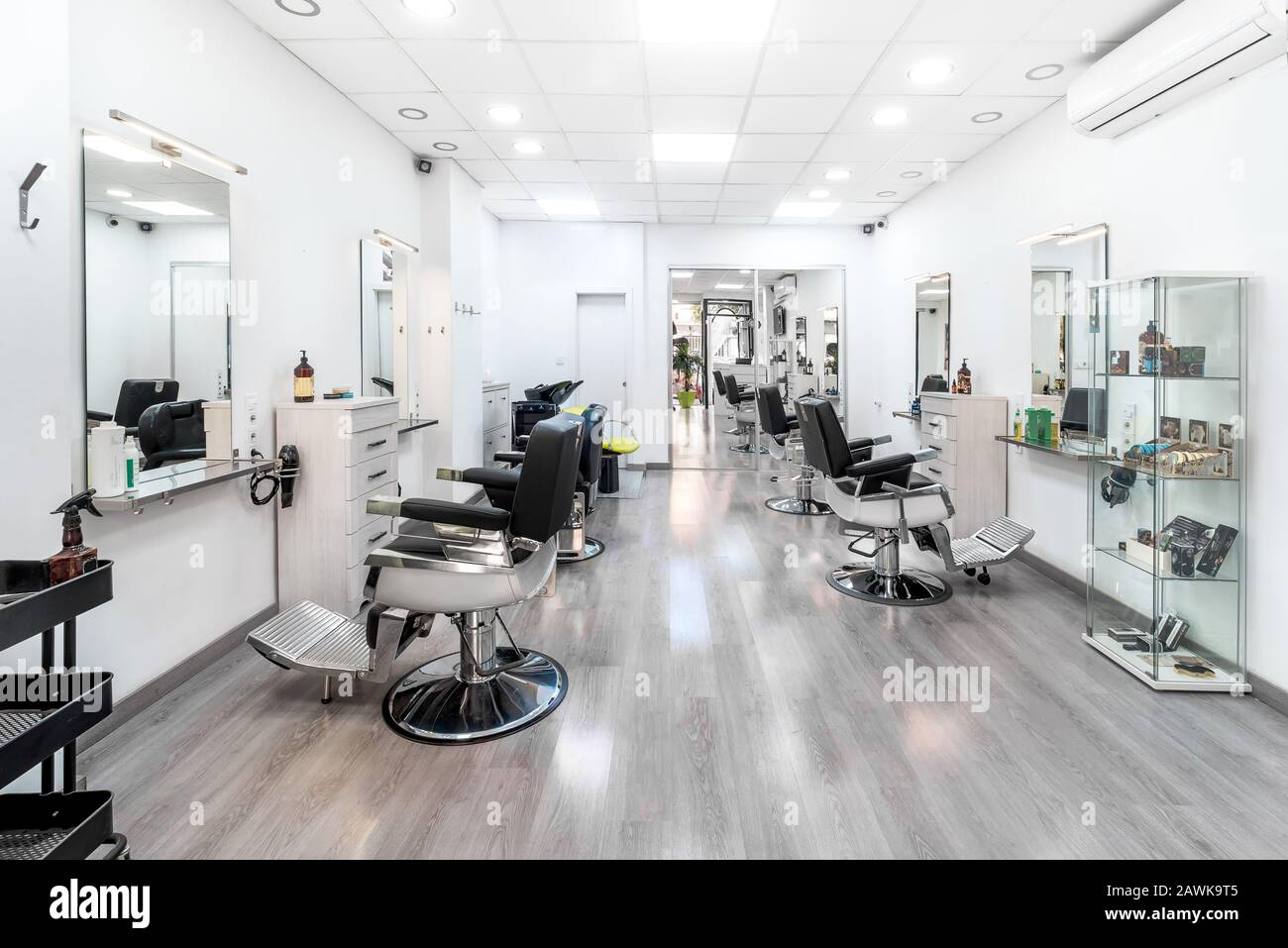 Modern Bright Hair And Beauty Salon Barber Salon Interior Business With Black And White Luxury Decor Stock Photo Alamy