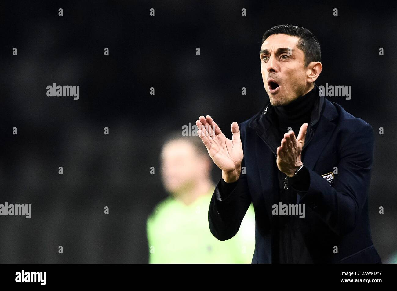 Turin, Italy - 08 February, 2020: Moreno Longo, head coach of Torino FC,  reacts during the Serie A football match between Torino FC and UC Sampdoria. Credit: Nicolò Campo/Alamy Live News Stock Photo