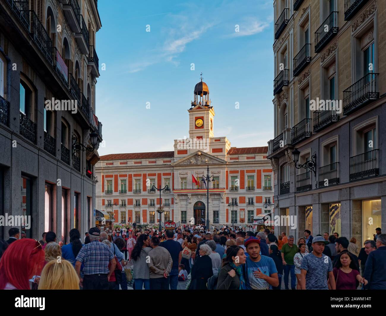Madrid, Spain - Oct 2019: Crowd of people in Puerta del Sol (Gate Sun) square Stock Photo