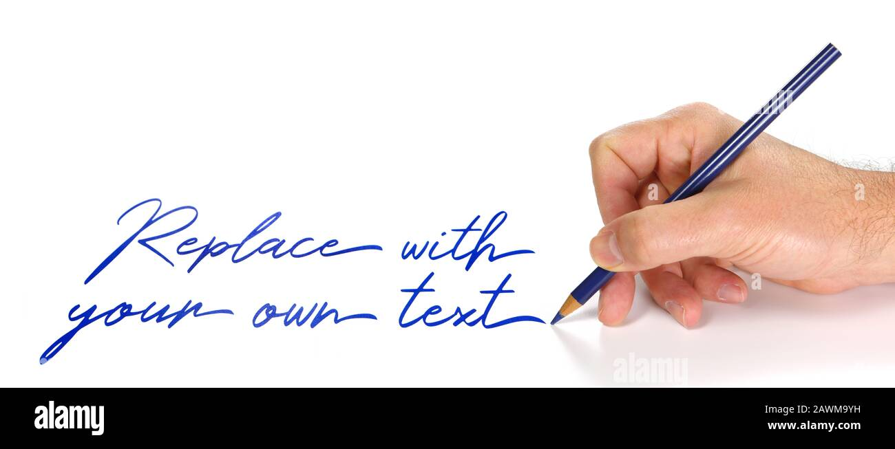 hand writing on a white sheet of paper with a red pencil, hand drawn for replace with your own text Stock Photo