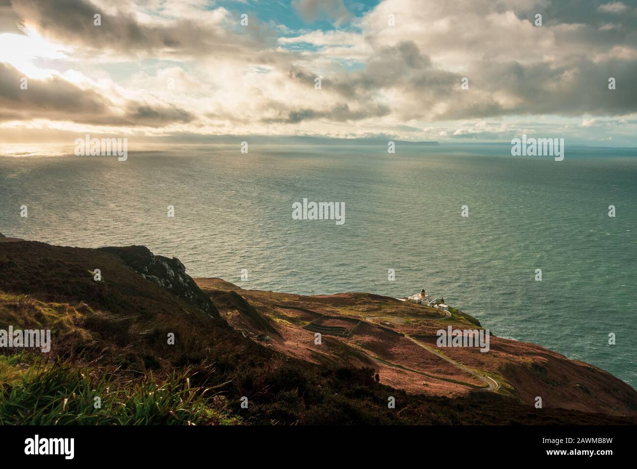 Views from the Mull of Kintyre to Northern Ireland and Rathlin island in dramatic weather conditions in winter, Scotland, UK Stock Photo