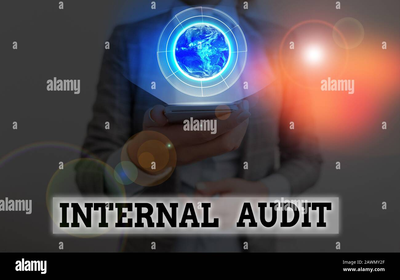 Conceptual hand writing showing Internal Audit. Concept meaning evaluating and improving the effectiveness of risk management Elements of this image f Stock Photo