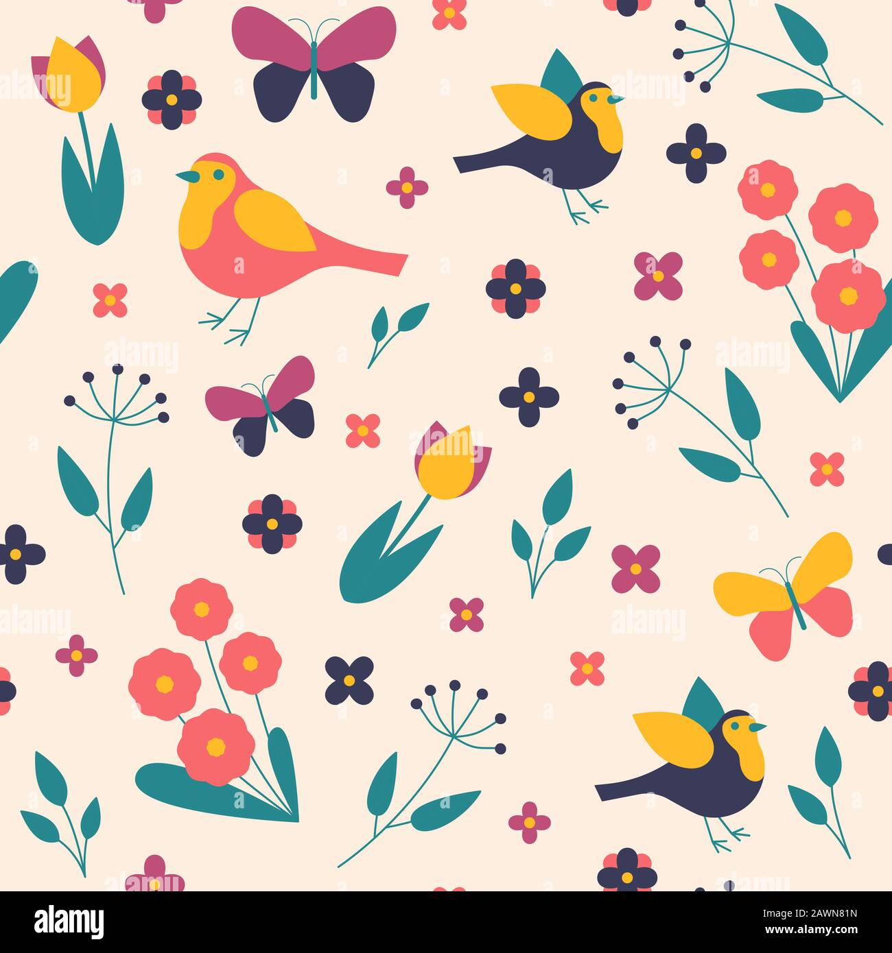 Seamless pattern seasons spring birds, flowers and leaves Stock Photo