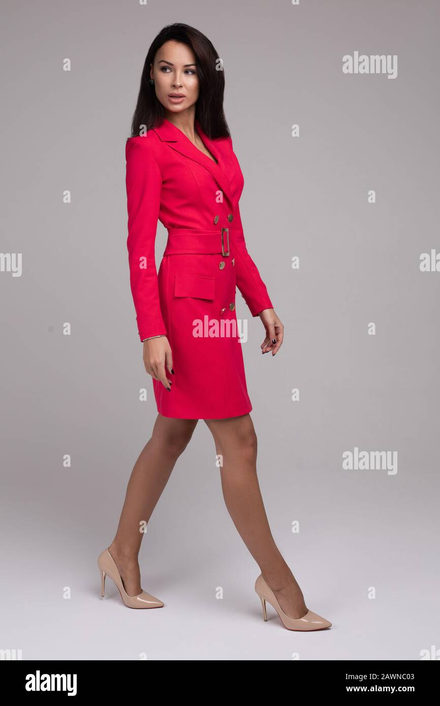 red dress and beige heels Stock Photo