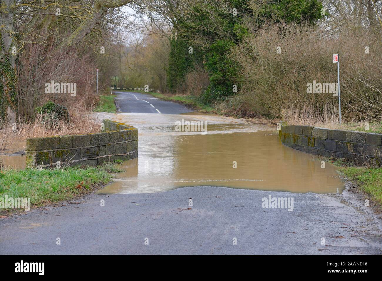 Flooding on Ledston Mill Lane in Ledston, West Yorkshire, after Storm Ciara brought flash flooding throughout the UK. Stock Photo
