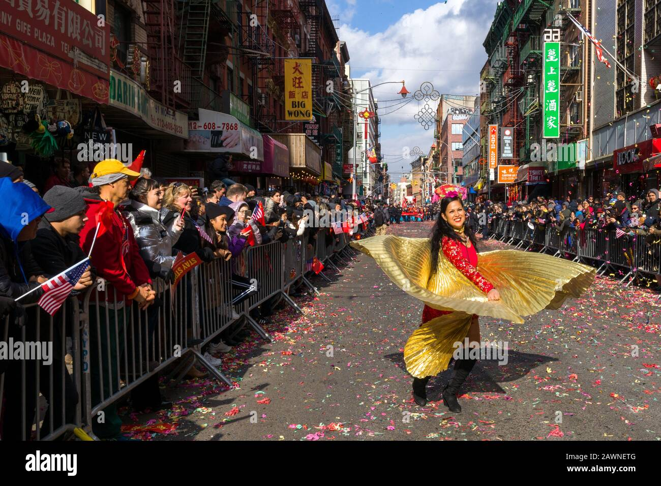 New York, USA. 9th Feb, 2020. A dancer performs during the Chinese New Year parade in Chinatown. Credit: Enrique Shore/Alamy Live News Stock Photo