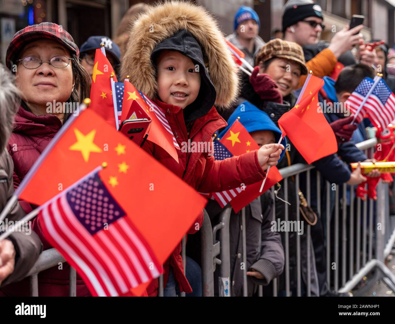 New York, New York, USA. 9th Feb, 2020. New York, New York, U.S.: people attend the annual Lunar New Year Parade and Festival in Chinatown. Credit: Corine Sciboz/ZUMA Wire/Alamy Live News Stock Photo