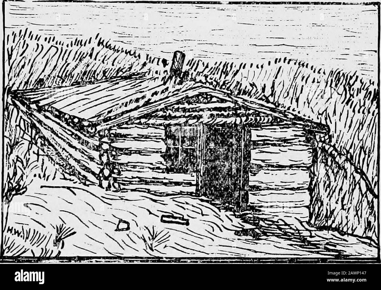 The trail of the Loup; being a history of the Loup River region . also a sort of hostelry—no pay being taken, let it beknown—from later comers. Its hospitable roof sheltered many a wearywayfarer in the early days. Furthermore, in these unpretentious quarterswas tried the first criminal suit in the annals of the new county; here wasfield the first school for the upper half of the county; and here for severalyears, was the county treasurers ofBce located. We cannot but regretthat this modest, though historic landmark should have been demolished,not even a photograph remaining. The cut here inser Stock Photo