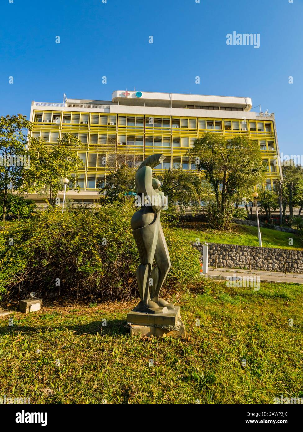 Stylized female form sculpture in park before hospital Rijeka Croatia Europe Stock Photo