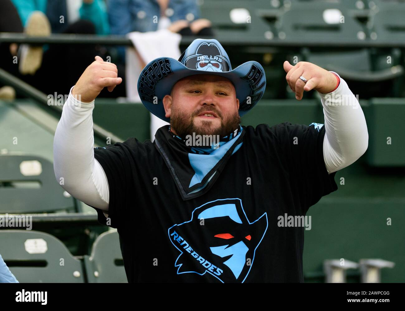 Arlington, Texas, USA. 9th Feb, 2020. Dallas Renegades fan during the 1st half of the XFL game between St. Louis Battlehawks and the Dallas Renegades at Globe Life Park in Arlington, Texas. Credit: Cal Sport Media/Alamy Live News Stock Photo