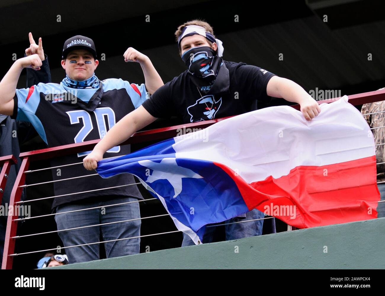 Arlington, Texas, USA. 9th Feb, 2020. Dallas Renegades fans before the 1st half of the XFL game between St. Louis Battlehawks and the Dallas Renegades at Globe Life Park in Arlington, Texas. Credit: Cal Sport Media/Alamy Live News Stock Photo