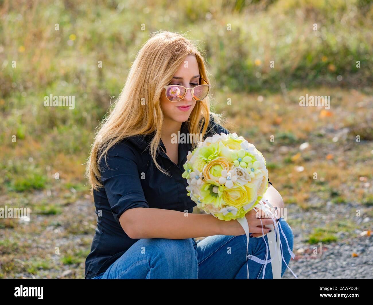 Teen girl is thinking Stock Photo
