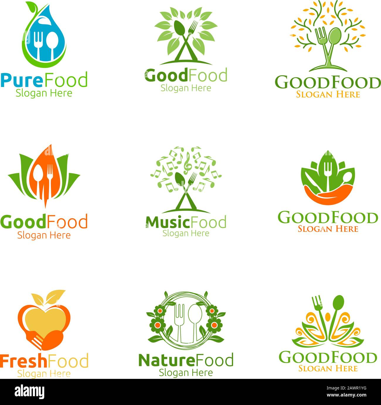 Healthy Food Logo For Restaurant Or Cafe Stock Vector Image Art Alamy