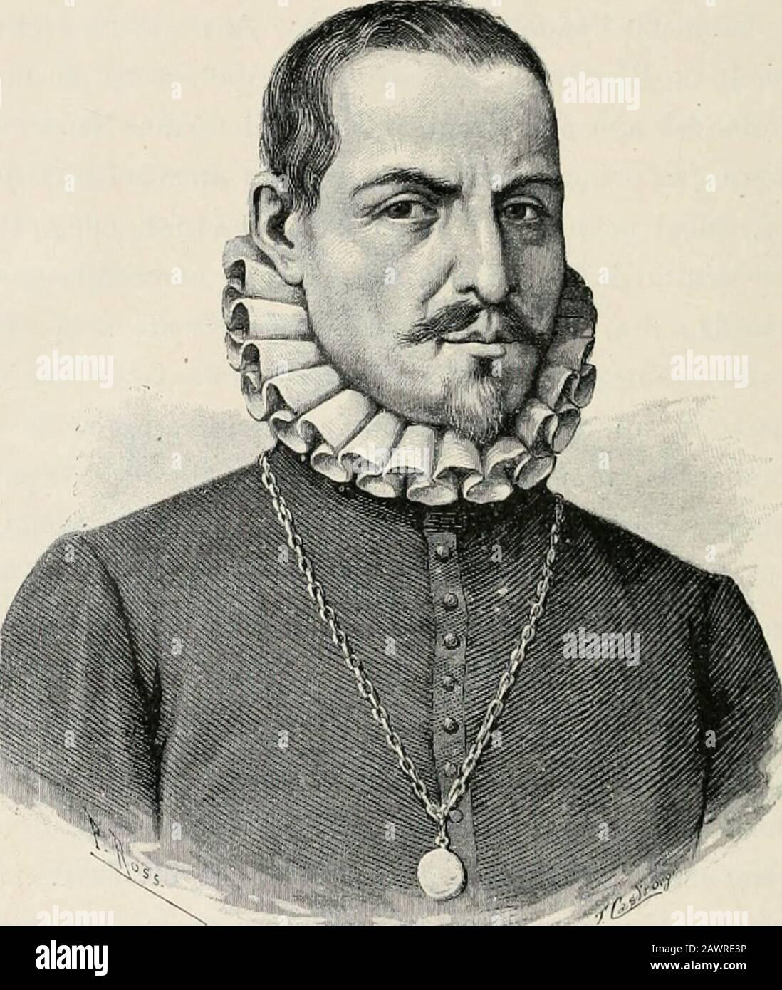 Cristóbal Cólon : su vida, sus viajes, sus descubrimientos . LXVI CRISTÓBAL COLÓN í=í=V .*• V , ?—íf ,s^ mz .  r> m- -*- ^. ^/i nador de la provincia de Cartagena, 5 alcalde del fuerte deSanto Domingo, habiendo ocho veces pasado el grande Occcauo,murió en Valladolid en 1557. Aunque á Herrera, como cronista mayor de Indias,se le facilitaron todos los documentos que existían en losarchivos oficiales, su obra, en lo relativo al descubrimiento. ANTONIO DE HERRERA ^.-V. T-- j^V^.Ji. 3^ á la vida de Cristóbal Colón, es una mera ampliacion delo dicho por fray Bartolomé de Las Casas, á quie Stock Photo