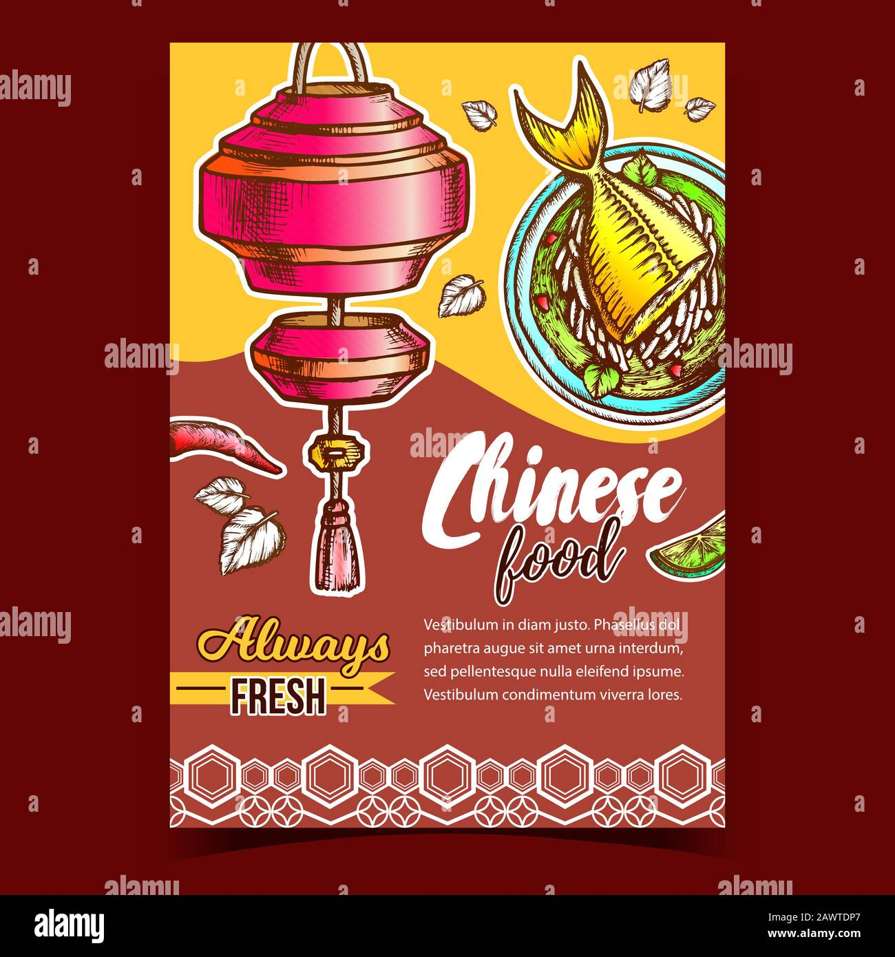 Chinese Food Restaurant Advertising Poster Vector Stock Vector Image Art Alamy