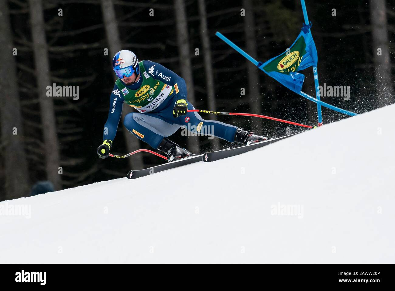 Val Gardena, Italy 20 December 2019. Paris Dominik (Ita) competing in the Audi Fis Alpine Skiing World Cup Men's Super-G Race  on the Saslong Course i Stock Photo