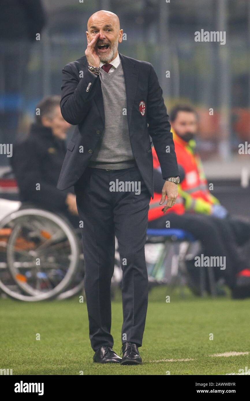 The Coach Stefano Pioli Milan During Fc Internazionale Vs Ac Milan Milano Italy 09 Feb 2020 Soccer Italian Serie A Soccer Match Stock Photo Alamy
