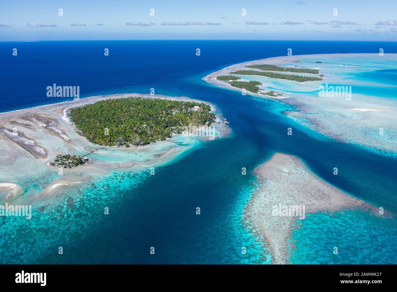 Tetamanu Pass of Fakarava Atoll, Tuamotu Archipel, French Polynesia Stock Photo